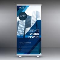 abstract blue standee vector roll up banner design template