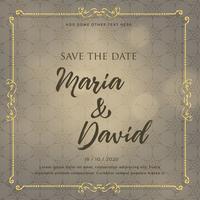 Diseño de tarjeta de invitación de boda con elementos decorativos.