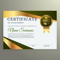 Diseño de plantilla de certificado de lujo en estilo de forma geométrica