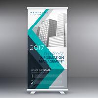 kreativ blå stande rulle upp banner design mall