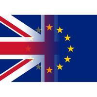 Förenade kungariket och Europeiska unionen flaggor sammanfogning