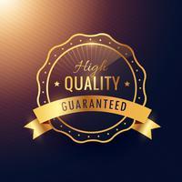 Garantía de alta calidad etiqueta dorada y diseño de placa.