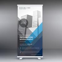roll up business template with blue and gray shapes for your pre