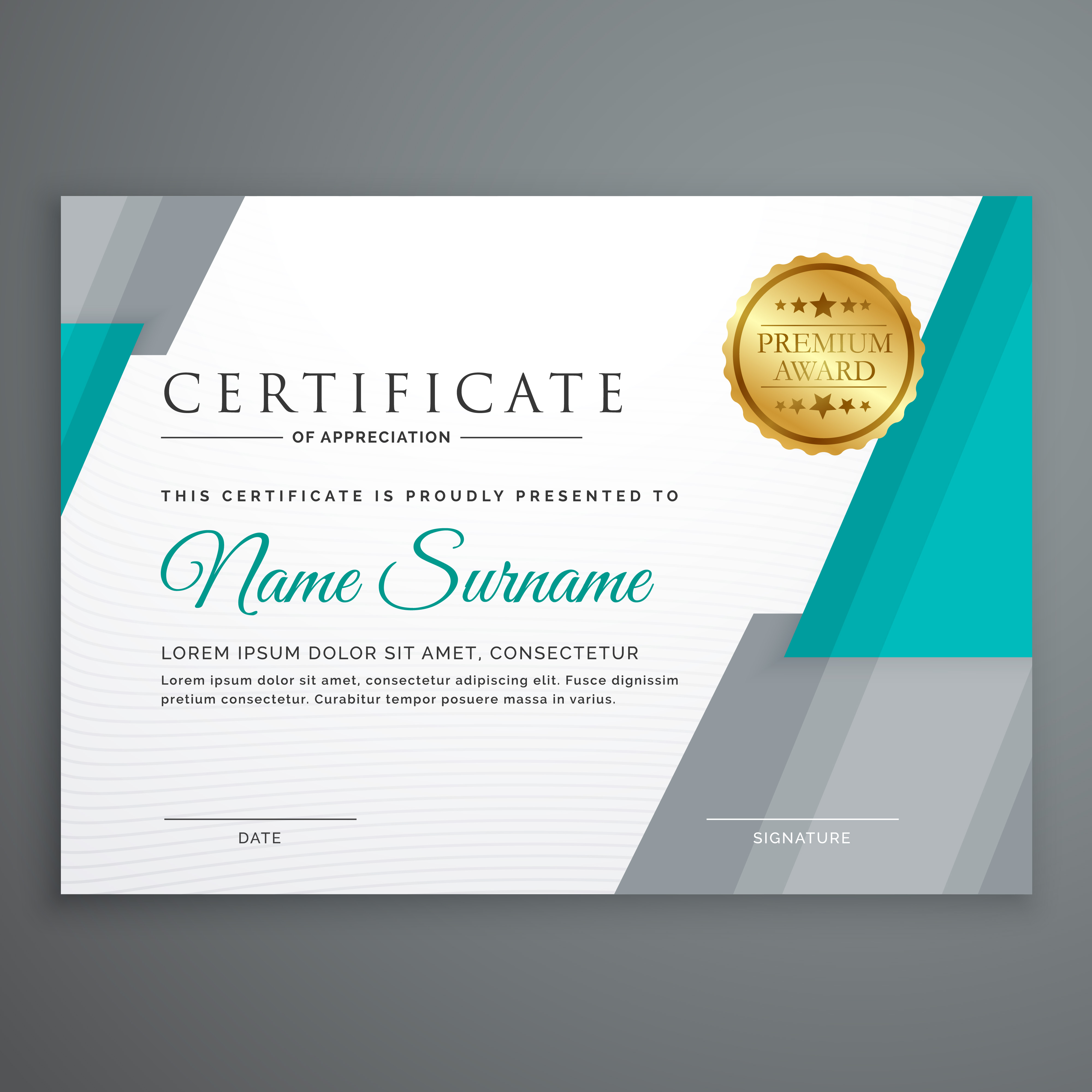 stylish certificate template design with geometric shapes - Download ...