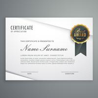 certificado de estilo minimalista moderno de modelo de apreciação com b