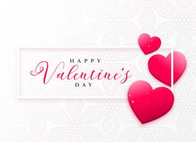 härliga rosa hjärtan ramdesign för valentins dag