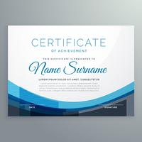 elegant blue wavy certificate of achievement vector design