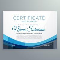 elegante certificado ondulado azul de design vector realização
