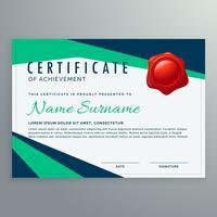 Moderno certificado geométrico de diseño en formas azules y verdes.
