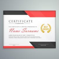 modern certificaatontwerp met geometrische rode en zwarte vormen