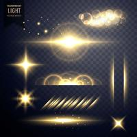conjunto de ouro transparente de lente flares vetor de efeito de luz