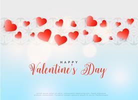 red hearts happy valentine's day design
