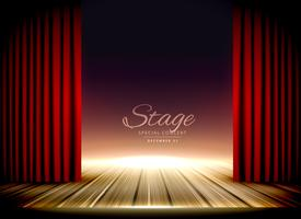 Escenario de teatro con cortinas rojas y suelo de madera.
