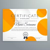 modern certificate template design with orange and white circles