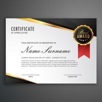 plantilla de vector de diseño de certificado de lujo