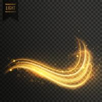 golden swirl magic light effect vector