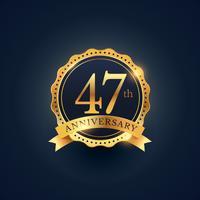 Étiquette de badge de célébration du 47e anniversaire de couleur dorée