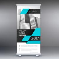 modern blue standee roll up banner design with geometric shape
