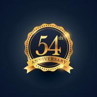 Étiquette de badge de célébration du 54e anniversaire de couleur dorée