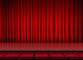 auditorium podiumdispater met rode gordijnen en stoelen
