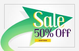 Fondo de cartel de venta promocional con flecha verde