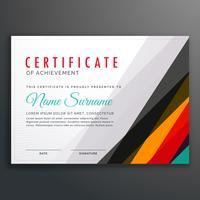 moderne certificaat ontwerpsjabloon met kleurrijke lijnen