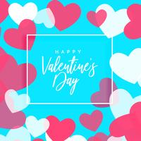 conception de voeux Saint Valentin avec cadre coeurs