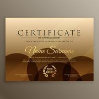 plantilla de diseño de certificado marrón premium
