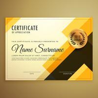 Plantilla de diseño moderno certificado creativo con forma geométrica