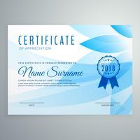 projeto de certificado de diploma abstrato azul