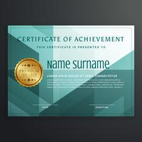 modern award certificate template design in turquoise color