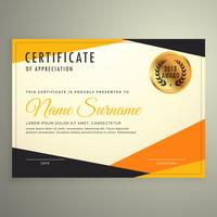 certificate design template with clean modern orange and black s