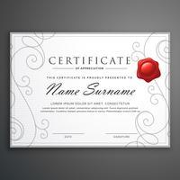pulire elegante modello di certificato di certificato bianco diploma