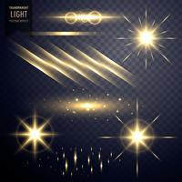 insamling av transparent lins flares ljus effekt med glimt