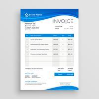 blauer Vektor Rechnungsvorlage Design