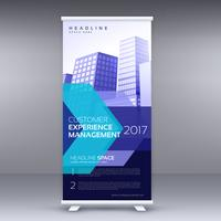 blue business roll up banner design with geometric shape