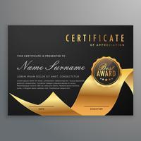 certificat de diplôme de luxe avec ruban d'or