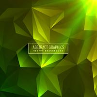 abstrakter grüner niedriger Polyhintergrund mit glühendem Licht