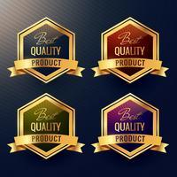 vier beste kwaliteit productlabel ontwerp vector
