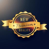 design de vetor de rótulo dourado de qualidade premium