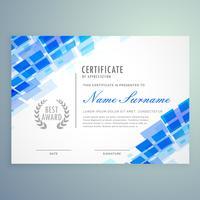 modello di certificato moderno con forme blu mosiac
