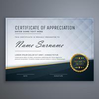 certificado moderno premium de design de modelo de apreciação