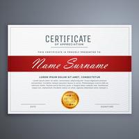 certificaatsjabloonontwerp in rode en witte eenvoudige vormen