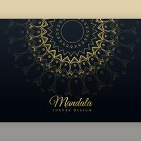 conception d'affiche de mandala d'or de luxe noir