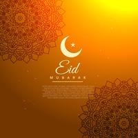 Goldener Hintergrund des Eid Mubarak mit Halbmond
