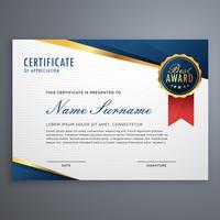 creatief certificaat van waardering award sjabloon met blauw een