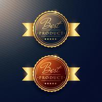 """""""melhor produto"""" luxo rótulo dourado conjunto de dois distintivos"""