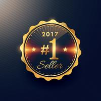 2017 nr. 1 säljare gyllene premium emblem etikett design