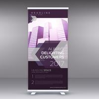 moderno viola in piedi roll up banner design temaplate per busine