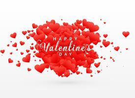 Valentinstagskarteentwurf mit zerstreuten roten Herzen